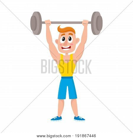 Young man doing shoulder press with barbell, training, weightlifting in gym, cartoon vector illustration isolated on white background. Cartoon man, guy training with barbell, bodybuilding in gym
