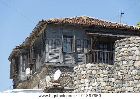 Sozopol Bulgaria - 22 Juny 2016: Typical nowaday wooden residental house in Sozopol. Not so modern but picturesque and cozy.
