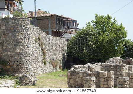 The Southern Fortification Wall and nowaday residental houses in Sozopol