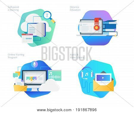Material design icons set for distance education, audio and video library, online training and courses, self-paced e-learning. UI/UX kit for web design, applications, mobile interface, infographics and print design.