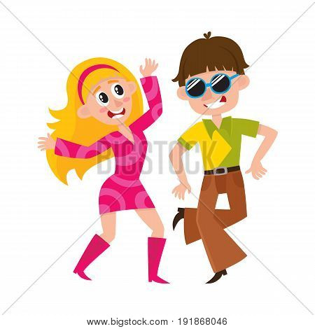 Young couple, man and woman, dancing dicso, having fun, cartoon vector illustration isolated on white background. Young man and woman dancing together at retro disco party