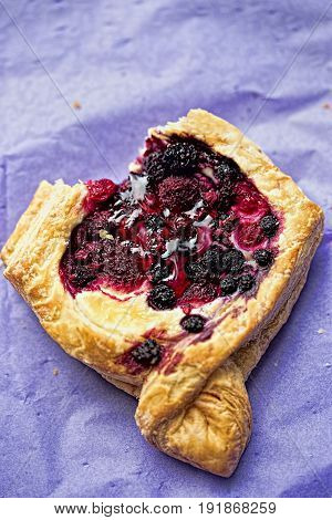French pastry with vanilla cream and berries on violet paper napkin