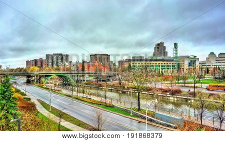 Cityscape of Ottawa with the Rideau Canal in Ontario, Canada