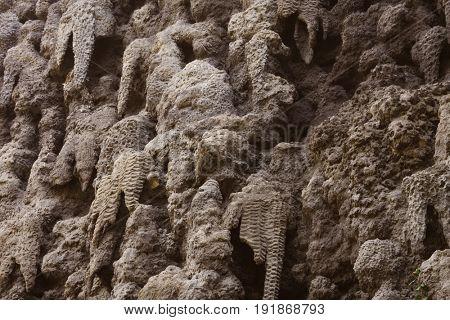 artificial creation of stalactite wall Wallenstein Garden, Prague