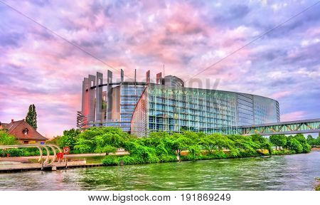 The Louise Weiss building of European Parliament in Strasbourg, France