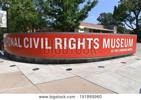 Memphis, TN, USA - June 9, 2017: The National Civil Rights Museum at the Lorraine Motel where Dr. Martin Luther King Jr. was assassinated