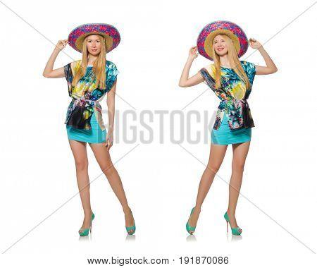 Happy woman wearing sombrero hat on white