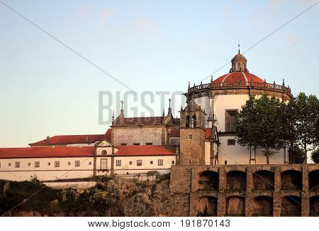 Porto, Portugal. View of Mosteiro de Santo Agostinho da Serra do Pila from the boat on Douro River