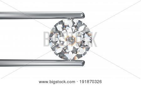 3D illustration isolated round white diamond in silver tweezers on a white background