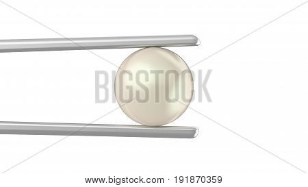 3D illustration isolated white pearl in a silver tweezers on a white background