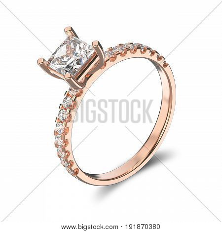 3D illustration isolated classic rose gold ring with a diamonds and shadow on a white background