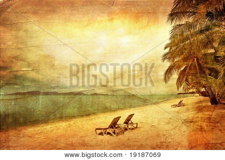 Two sun beach chairs on shore near sea in grunge and retro style poster