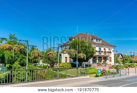 Mairie or town hall of Plobsheim near Strasbourg - Bas-Rhin, France