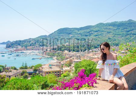 Tourist looking at scenic view of Cinque Terre, Liguria, Italy