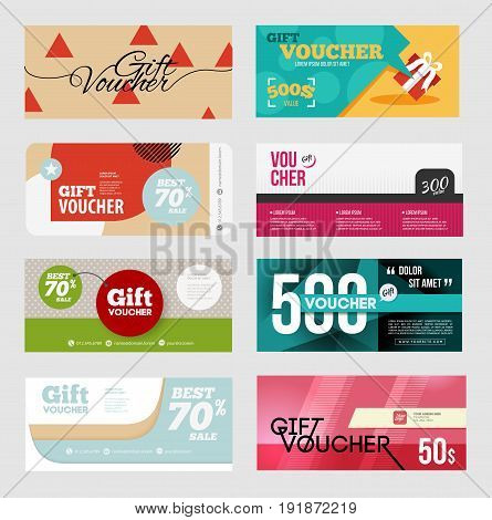 Gift voucher certificate coupon design template set.