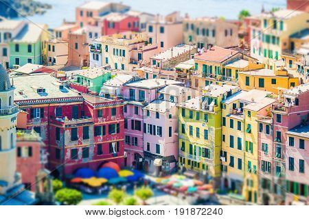 Scenic view of Vernazza in Cinque Terre, Liguria, Italy