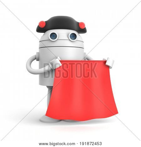 Robot dressed as matador on a white background. 3d illustration