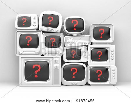 Pile of retro TV - with red question on the screen. 3d illustration