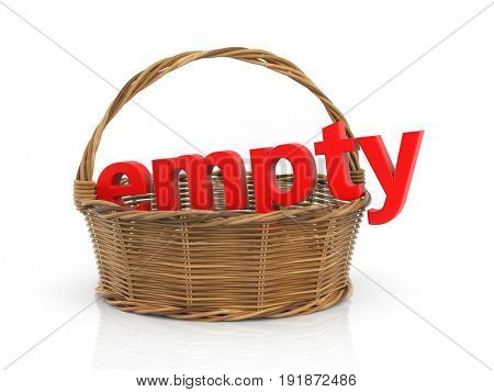 Red word EMPTY in the basket. 3d illustration