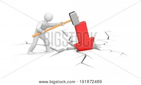 People to hammer the red arrow in the ground. 3d illustration