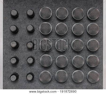 Several professional microphones -  mic. Top view