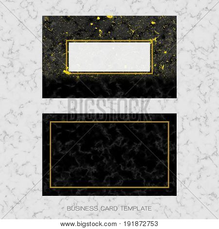 Modern business card layout template, Black and golden marble background for luxury design (Clipping path included)