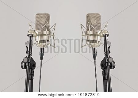 Two Professional Microphones On Their Stands, Mic.