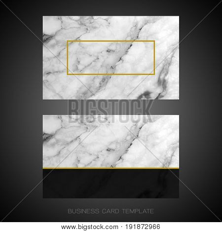 Modern business card layout template, Black and white marble texture background for luxury design (Clipping path included with copy space for adding more text)