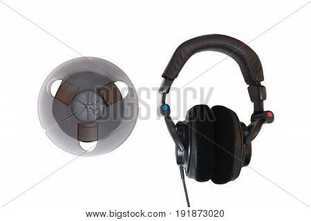Analog Magnetic Tape And Professional Headphones