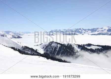 Mountains in ski resort, Krasnaya Polyana, Sochi, Russia in winter sunny day