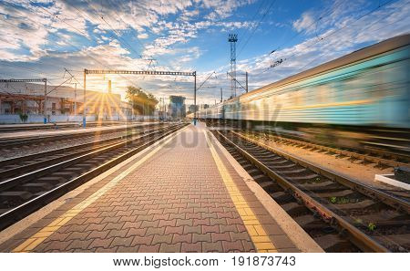 High Speed Passenger Train In Motion On Railroad Track