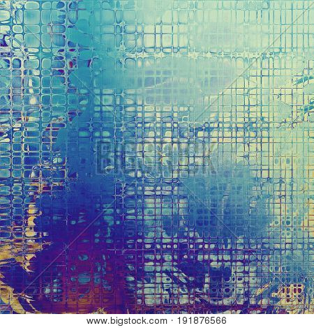 Grunge texture or background with retro design elements and different color patterns: yellow (beige); blue; purple (violet); cyan