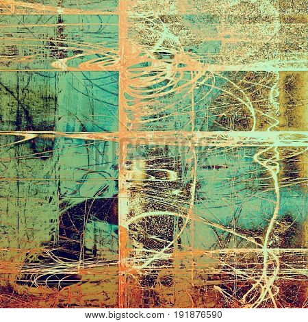 Vintage style background with ancient grunge elements. Aged texture with different color patterns: yellow (beige); green; brown; blue; red (orange); cyan