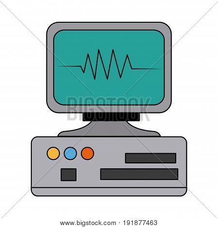 monitor cardiology pulse medicine device technology vector illustration