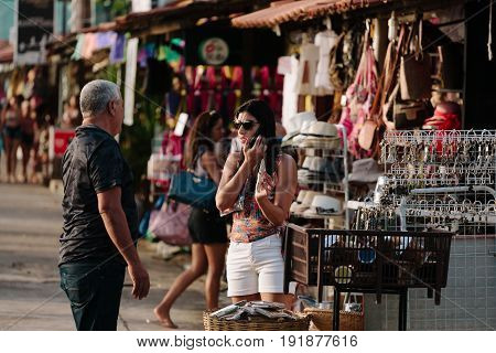 Cabedelo, Paraiba, Brazil - June 19, 2017 - Tourists At The Craft Fair Located On Jacare Beach, Near