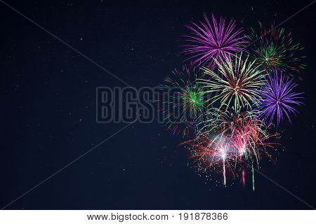 Purple Lilac Red Green Celebration Fireworks Copy Space.