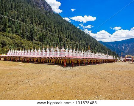 View of stupas at a tibetan buddhist temple in Sichuan China