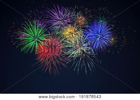 Purple Green Red Blue Yellow Celebration Fireworks
