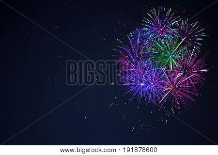 Blue Purple Green Celebration Firework Copy Space.