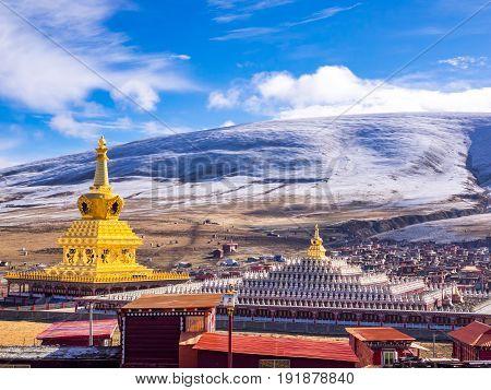 Stupas in tibetan Yarchen Gar Monastery In Sichuan China in winter