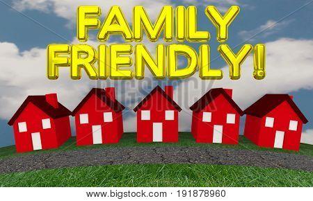 Family Friendly Neighborhood Community Houses 3d Illustration
