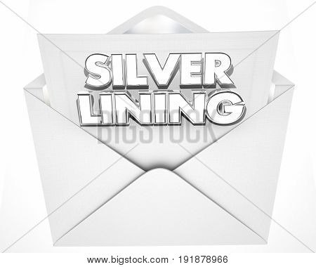 Silver Lining Envelope Positive Attitude Result Outcome 3d Illustration