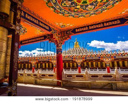 Sichuan China - April 10 2017 : Beautiful view in tibetan Yarchen Gar Monastery in Sichuan China.