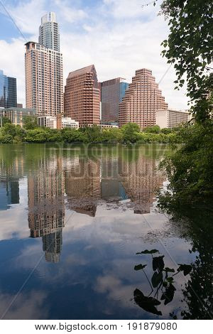 Near perfect vertical compositon of the riverfront and Austin Texas