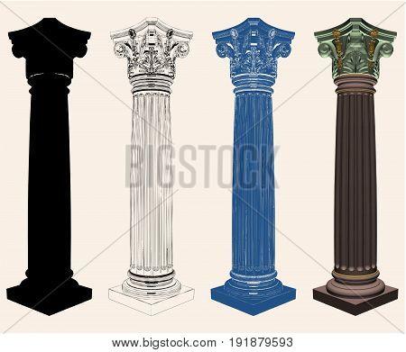 Ancient Antique Corinthian Column Isolated Illustration Vector