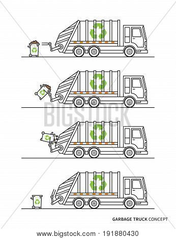 Garbage truck vector illustration. Refuse hauler with dustbins line art concept. Sanitation car collector vehicle with recycle sign graphic design.