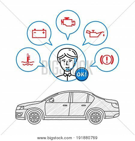 Car maintenance manager vector illustration. Car technical assistant concept with warning signs: check engine oil pressure generator coolant level brake system.
