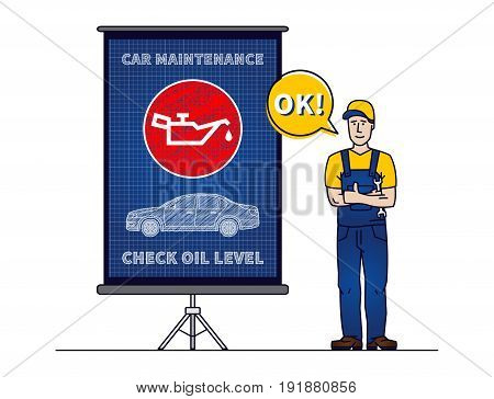 Serviceman with check motor oil level chart board vector illustration. Mechanic and engine oil level sign blue print graphic design. Oil pressure control symbol creative concept.