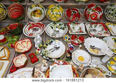 decorated plates to sale in open market in praga Czech republic