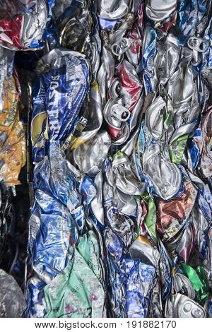 Atco New Jersey - June 18 2017 : Abstraction of crushed aluminum metal cans in cube.